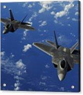 U.s. Air Force F-22 Raptors In Flight Acrylic Print