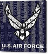 Us Air Force Logo Recycled Vintage License Plate Art Acrylic Print