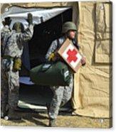 U.s. Air Force Soldier Exits A Medical Acrylic Print
