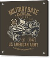 Us American Amry Jeep Acrylic Print