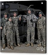 U.s. Army Crew Chiefs Pose In Front Acrylic Print