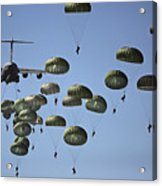 U.s. Army Paratroopers Jumping Acrylic Print by Stocktrek Images