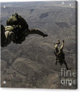 U.s. Army Soldiers Conduct A Halo Jump Acrylic Print