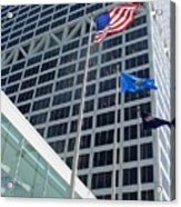 Us Bank With Flags Acrylic Print
