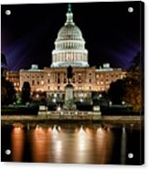 Us Capitol Building And Reflecting Pool At Fall Night 3 Acrylic Print