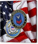U. S. Coast Guard Petty Officer Second Class - Uscg Po2 Rank Insignia Over Us Flag Acrylic Print