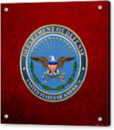 U. S. Department Of Defense - D O D Emblem Over Red Velvet Acrylic Print
