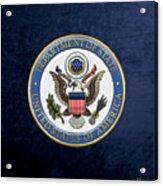 U. S. Department Of State - D O S Emblem Over Blue Velvet Acrylic Print