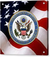 U. S. Department Of State - Dos Emblem Over U.s. Flag Acrylic Print