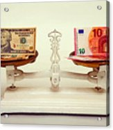 U.s. Dollar And Euro Banknotes On A Pair Of Scales In Vienna Acrylic Print