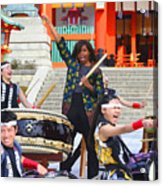 U.s. First Lady Michelle Obama  Plays The Taiko Drum  Acrylic Print