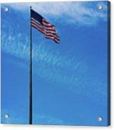 Us Flag At Liberty Island Acrylic Print