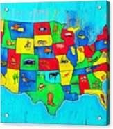 Us Map With Theme  - Free Style -  - Pa Acrylic Print