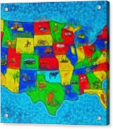 Us Map With Theme  - Special Finishing -  - Pa Acrylic Print