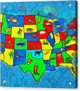 Us Map With Theme  - Van Gogh Style -  - Pa Acrylic Print