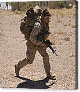 U.s. Marine Runs To The Uh-60 Black Acrylic Print