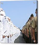 U.s. Marines And Sailors Stand Acrylic Print