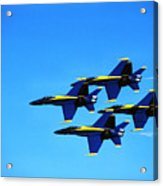 Us Navy Blue Angels Flight Demonstration Team In Fa 18 Hornets Acrylic Print