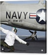 U.s. Navy Sailors Give The Thumbs Acrylic Print by Stocktrek Images