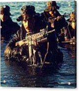 Us Navy Seal Team Emerges From Water Acrylic Print by Everett
