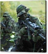 U.s. Navy Seals Cross Through A Stream Acrylic Print