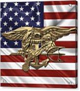 U.s. Navy Seals Trident Over U.s. Flag Acrylic Print
