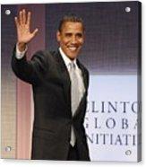 U.s. President Barack Obama At A Public Acrylic Print by Everett