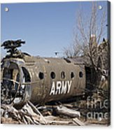 U.s. Soldier Inspects The Wreckage Acrylic Print