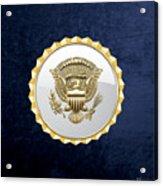 Vice Presidential Service Badge On Blue Velvet Acrylic Print