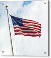 Usa Flag On Blue Sky With Clouds Acrylic Print