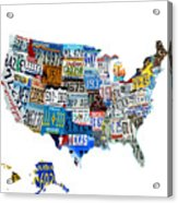 Usa License Plates Map 4p Acrylic Print