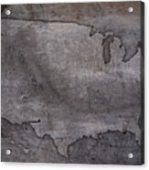 Usa Map Outline On Concrete Wall Slab Acrylic Print