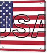 Usa On The American Flag Acrylic Print