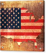 Usa Star And Stripes Map Acrylic Print by Michael Tompsett
