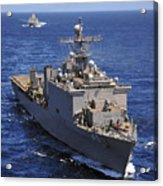 Uss Comstock Leads A Convoy Of Ships Acrylic Print