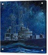 Uss Truxtun Dlgn-35 A Nuclear-powered Cruiser At Sea At Night Under The Milky Way Acrylic Print