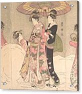 Utagawa Toyokuni I    Courtesans And Attendants Playing In The Snow Acrylic Print