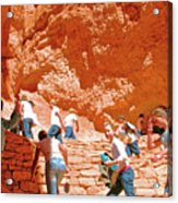 Utah Seventh Graders Climb Up Switchbacks On Wall Street On Navajo Trail In Bryce Canyon National Pa Acrylic Print