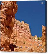 Utah Seventh Graders Climbing Switchbacks On Wall Street, Navajo Trail In Bryce National Park, Utah Acrylic Print
