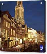 Utrecht Cathedral At Night Acrylic Print