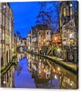 Utrecht From The Bridge By Night Acrylic Print