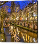 Utrecht Old Canal By Night Acrylic Print