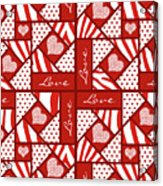 Valentine 4 Square Quilt Block Acrylic Print
