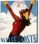 Vallee D'aoste - Aosta Valley, Italy - Retro Travel Poster - Vintage Poster Acrylic Print