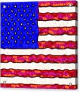 Van Gogh.s Starry American Flag . Square Acrylic Print