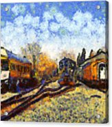 Van Gogh.s Train Station 7d11513 Acrylic Print