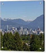 Vancouver Bc City Skyline And Mountains View Acrylic Print