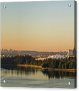 Vancouver Bc Cityscape By Stanley Park Morning View Acrylic Print