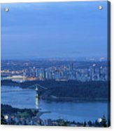Vancouver Bc Cityscape During Blue Hour Dawn Acrylic Print
