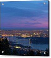 Vancouver Bc Cityscape Lions Gate Bridge Sunset Acrylic Print